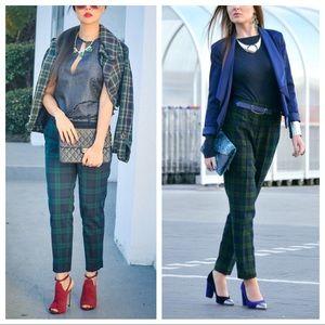 LOFT Green, Blue & Black Plaid Ankle Pants